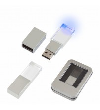 AK-F-139-16 Kristal USB Bellek 16 GB Mavi Işıklı